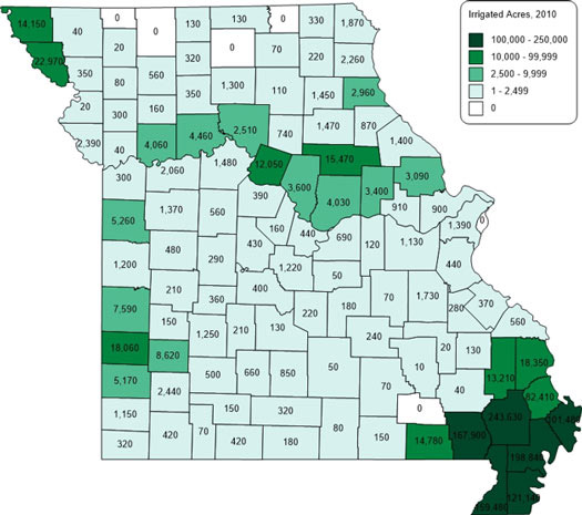 Map of irrigated acres in Missouri by county, 2010