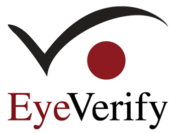 stylized red eye with black brow and words EyeVerify beneath