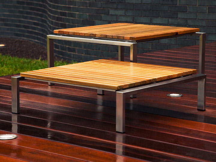 modern double wooden table tops with metal legs