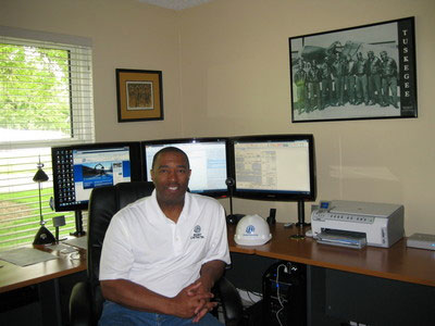 Sedrick Brandt seated in his office