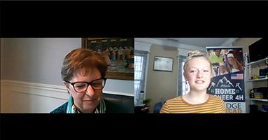 Screenshot from Bella Baker, daughter of 4-H club leader Aaron Baker, interviewing Missouri 4-H program director Lupita Fabregas on Facebook Live