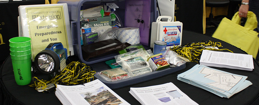materials for disaster kit displayed on table