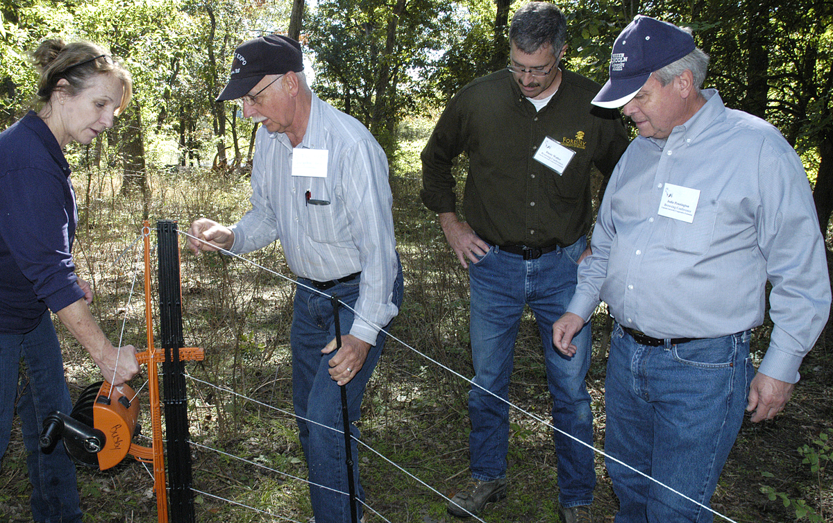Charlotte Clifford-Rathert demonstrates some new portable fencing options that offer flexibility and ease of use for rotational grazing, immunizations, hoof trimming or training.