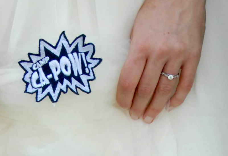 Alyssa Praiswater had a Camp Ca-Pow patch sewed to the lining of her wedding dress.