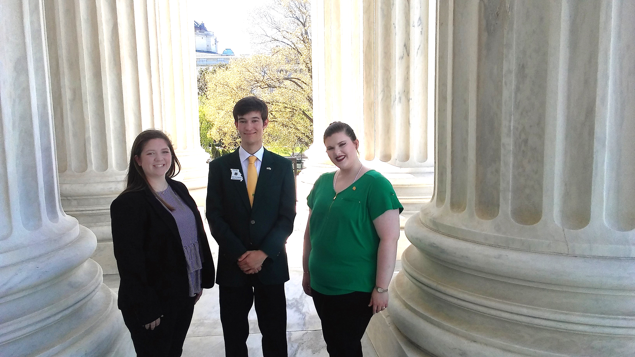 From left, Kayla Taylor, Sage Eichenburch and Rachel Grubbs in Washington, D.C. for the National 4-H Conference.