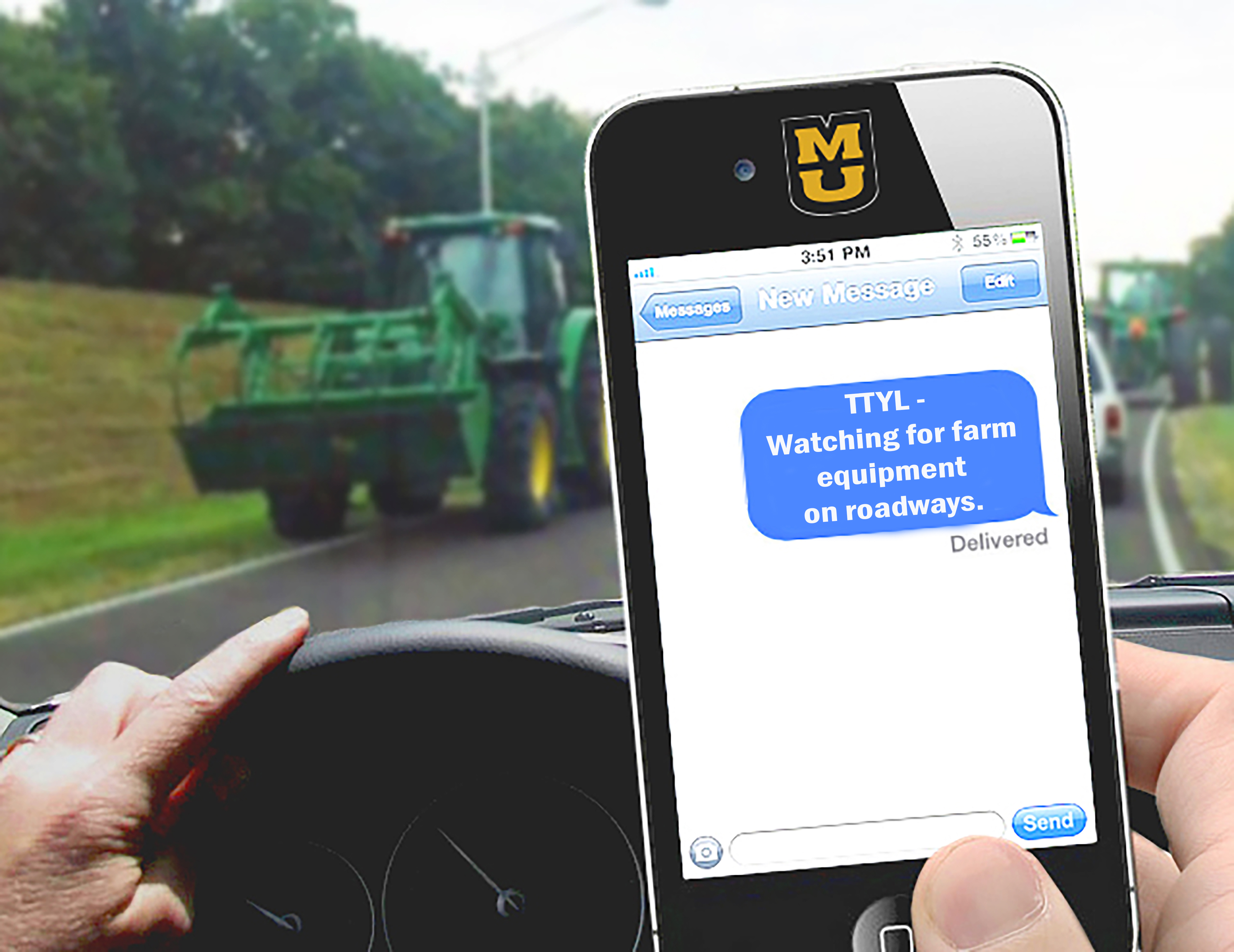 During harvest season the danger of texting and driving on rural roadways increases. 'TTYL' after harvest, says University of Missouri Extension safety and health specialist Karen Funkenbusch.