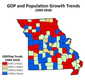 Missouri map depicting GDP and population trends by county. Categories include a) GDP decrease and population decrease, b) GDP decrease and population increase, c) GDP increase and population decrease, and d) GDP increase and population increase.