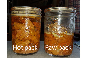 Hot packed and raw packed canned meat