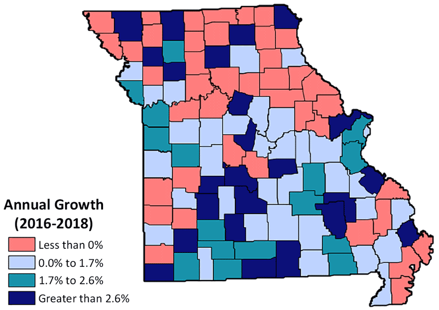 Missouri map showing change in GDP within each county. Growth ranges from less than 0% to greater than 2.6%. Growth rates scattered throughout the state, but generally lower growth rates exist in the northern part of the state. Growth between 2016 and 2018.