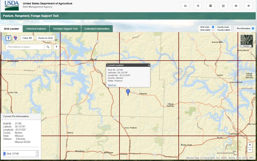 The grid locator tab of the USDA Pasture, Rangeland, Forage Support Tool