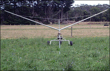 Low-pressure traveling irrigator.