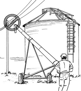Be aware of potential danger from power lines when operating grain augers and other types of tall farm equipment.