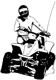 Crossing slopes on an ATV.