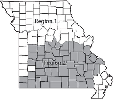 Delineation of Missouri regions for interpreting the P index