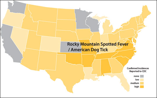 Distribution map of Rocky Mountain spotted fever