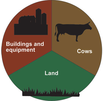 Pasture-based dairies allocate one-third investment each to cows, buildings/equipment and land.