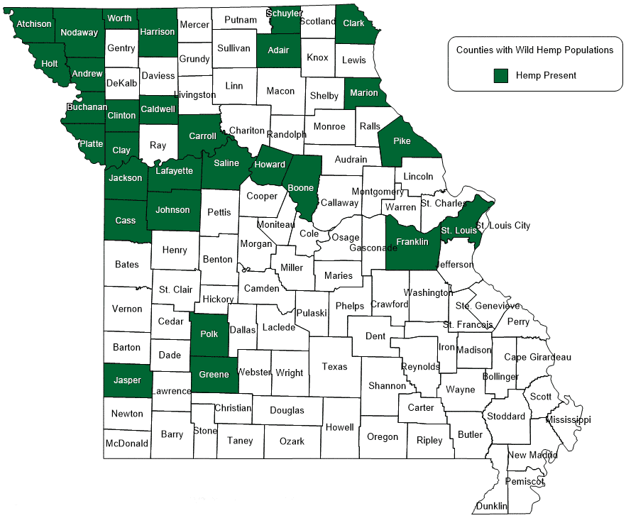 Map of Missouri showing counties with populations of wild hemp.