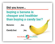 Banana vs. candy bar shelf talker