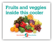 Fruits and veggies in this cooler window cling