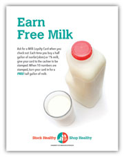 Milk loyalty card program sign